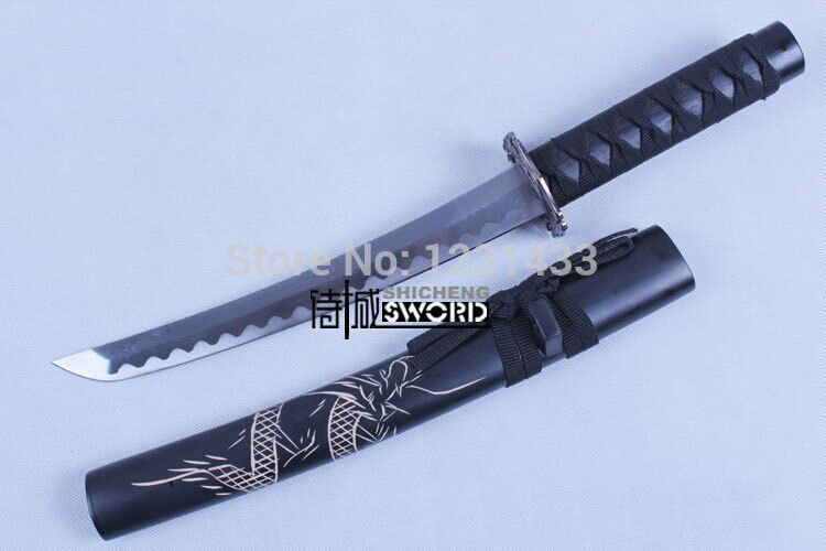 China longquan sword The Japanese samurai swords Black cool brief paragraph carved dragon Collection of gifts No edge(China (Mainland))