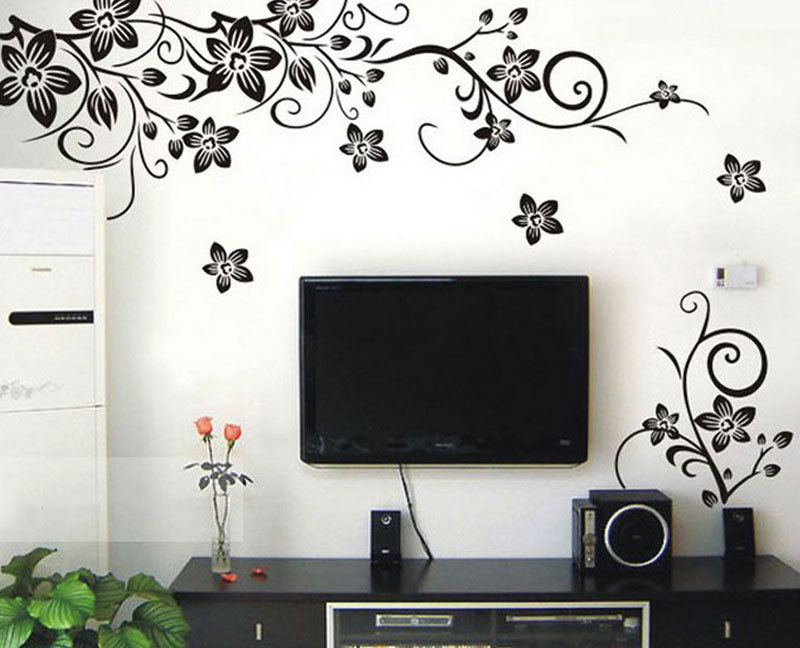 Hot diy black vine flowers removable wall stickers home decor paper art decals 49022 in wall - Flower wall designs for a bedroom ...
