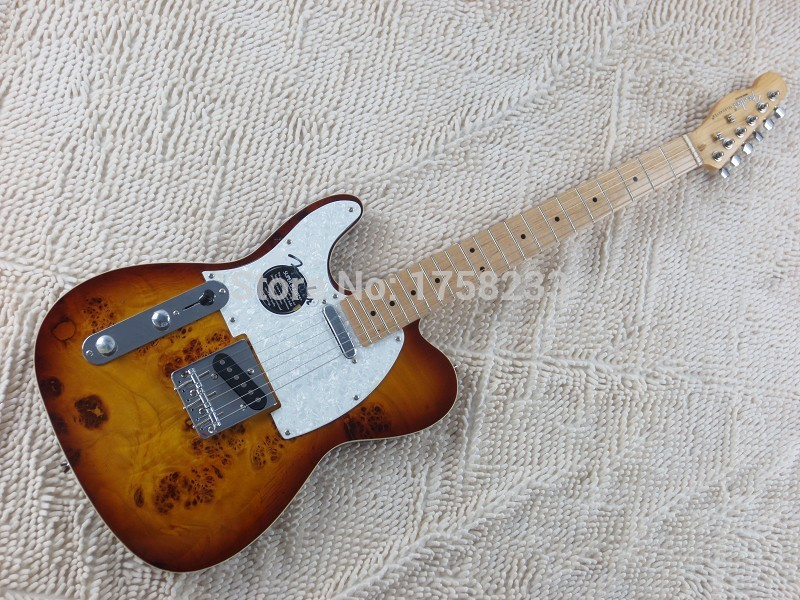 2019 Free Shipping Top Quality Maple fingerboard F Left Handed Telecaster Sunburst Electric Guitar White Guard Board(China (Mainland))