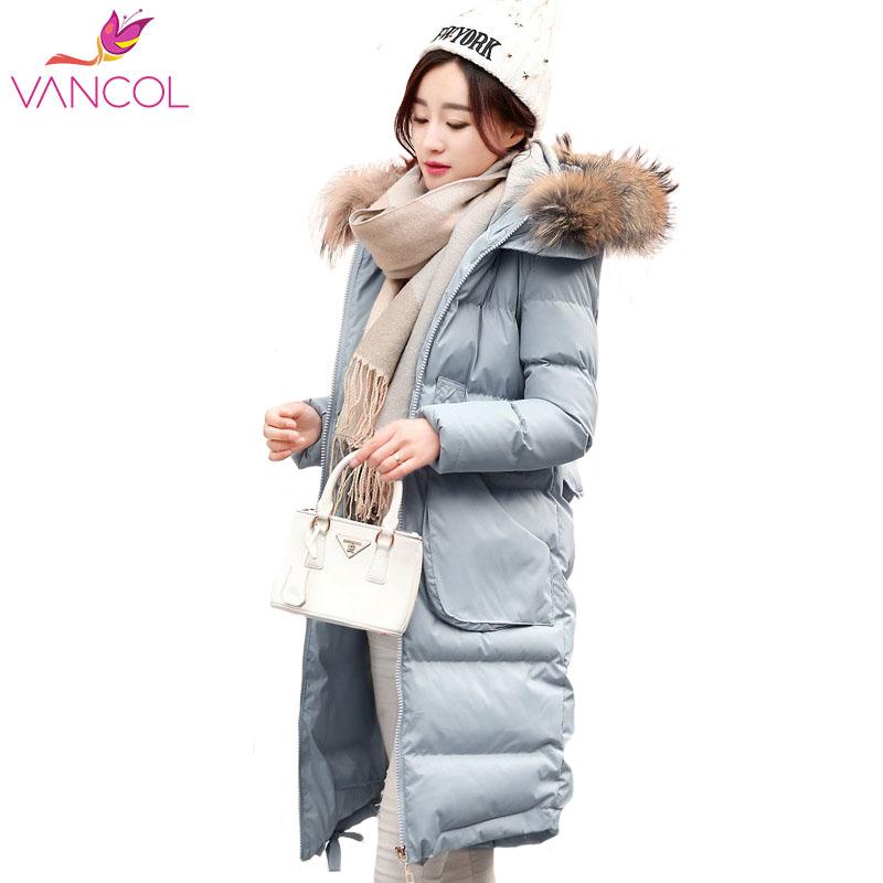 Фотография Vancol 2016 Winter Parka Woman Wadded Cotton Girls Fur Collar Hooded Thicken Padded Slim Korean Plus Size Long Down Coat