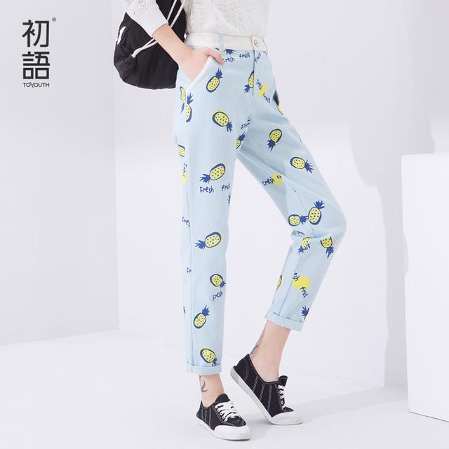Toyouth весна новое поступление леди брюки полосатый принт пят широкий брюки женщин ...