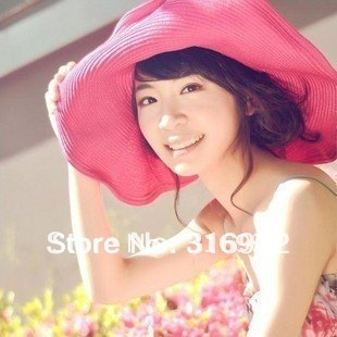 Free Shipping Multi-colors Straw Hat, Women Large Wide Brim Beach Hat, Foldable Sun Hat with Silk Ribbon for free