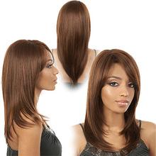 16 » — 24 » лёгкие каштан шелковистые прямые синтетический волос парики для черный женщины, Wigsbeautymall онлайн, Прическа