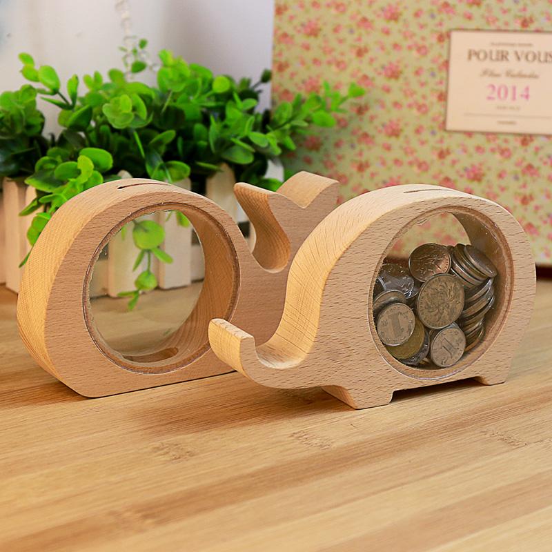 Small class children cute animal wooden piggy piggy bank creative birthday holiday gift money decoration(China (Mainland))