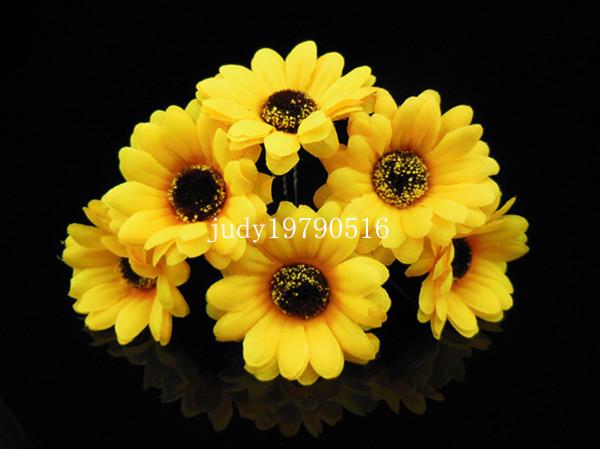Free Shipping New 10 Pcs Yellow Daisy Hair Grips Pins Clips Festival Chic Wedding Bridal Prom(China (Mainland))