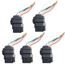 5 X Car Heavy Duty 12V 40A SPDT Relay Socket Plug 5Pin Wire Waterproof Seal(China (Mainland))