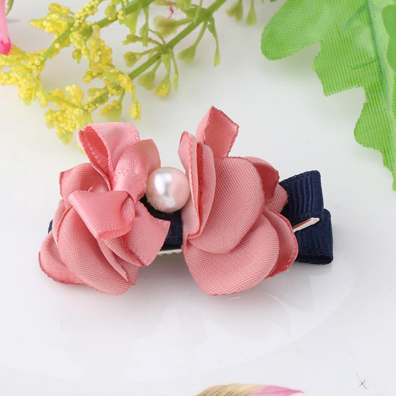 Children Flower Bowknot Hair Accessories Hairclips Bbay Ribbon Barrettes Pearl Headband Hairclips Girls Hair Ornaments Hairpins(China (Mainland))