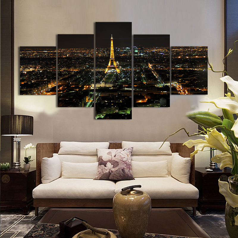 Free shipping 5PCS Eiffel Tower Oil Printed Painting Oil Painting On Canvas Home Decorative Art Picture(China (Mainland))