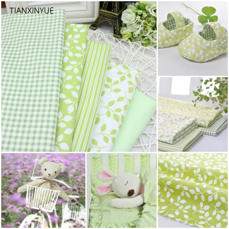 Twill 5 pcs Green Plaid Stripe Floral 100% Organic Cotton Fabric For Sewing Patchwork Wallet Purse Doll Bedding Fabric 40cm*50cm(China (Mainland))