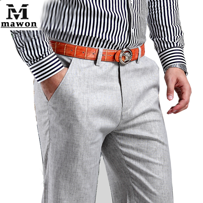 Plus Size 38 New 2015 Men Summer Linen Pants Cotton Casual Trousers,Breathable,High Quality Men's pants(China (Mainland))