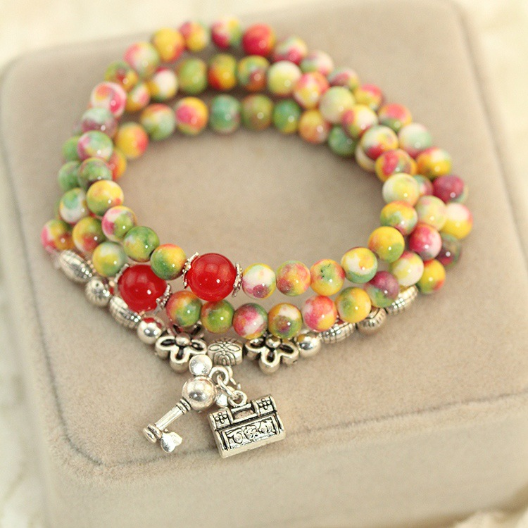 Specials ! Vanves natural mixed color agate stone bracelet jelly multi -colored crystal bracelet key abacus(China (Mainland))