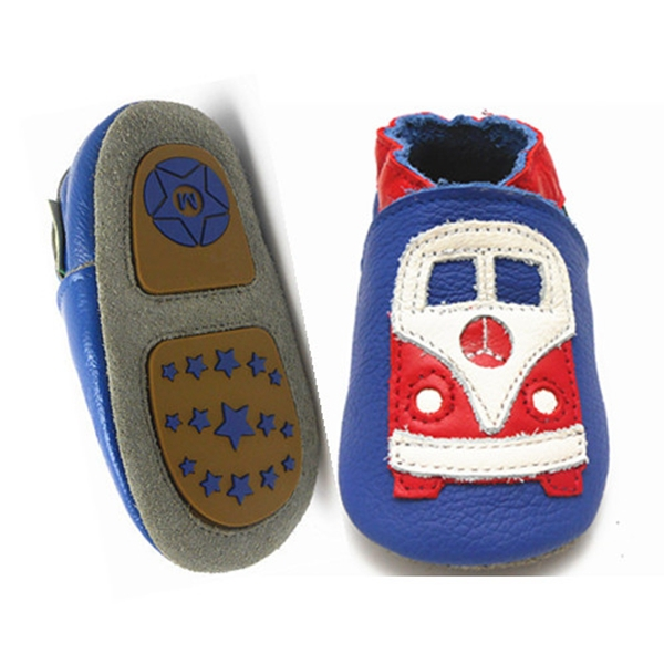 Sayoyo Hot Train Printed Soft Baby Moccasins Cow Leather TPR Anti-slip Sole Baby Boys Shoes Girls Toddler Infant Shoes()