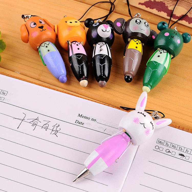 (10 Pieces/Lot) Canetas De Marca Kawaii Ballpoint Pens, Enclos Wooden Cartoon Animals Carry La Plume, Short Pen(China (Mainland))