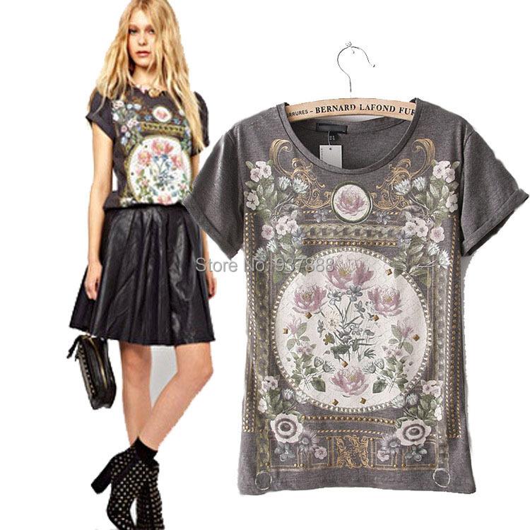 New 2015 Summer New Fashion Women T-Shirt Royal Wind Flower Print O-Neck Short-Sleeve Roll Up Hem Cotton T-Shirts S1032(China (Mainland))