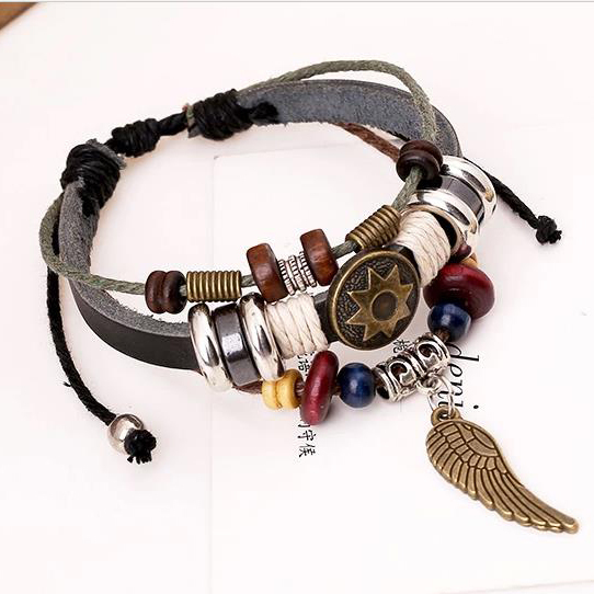 Angel Wings Jewelry Natural Beads Bracelets For Women Charm Genuine Wrap Cuff Leather Bracelets Hand Chain For Men YY-CZ002(China (Mainland))