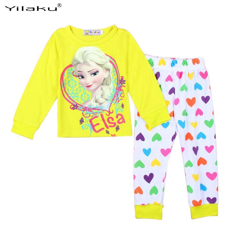 2015 Character childrens pajamas Set Princess Elsa Anna pijama infantil menino Kids Sleepwear Pajamas Home Clothing WI30017<br><br>Aliexpress