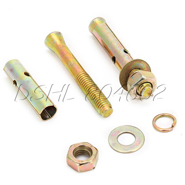 5x Expansion Bolt Hardware Tool M8x60 mm Hex Nut Sleeve Anchor Copper Tone