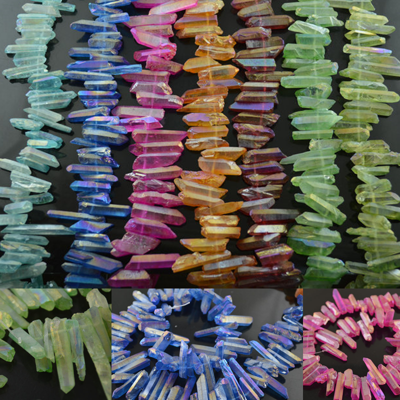 DIY Jewelry making Supply Mix Bright color Natural Crystal Quartz Stone Point rough stone loose beads Mineral 5 strands per lot(China (Mainland))