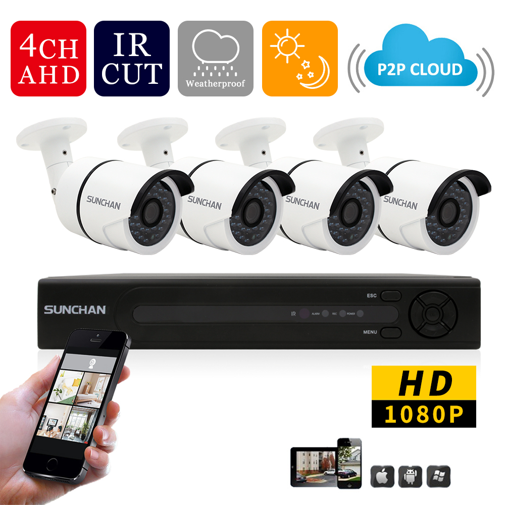 SUNCHAN New 4ch 1080P Full HD DVR 4PCS HD 2.0MP 1080P Outdoor Security Cameras Video System Kits  CCTV Home Surveillance System<br><br>Aliexpress