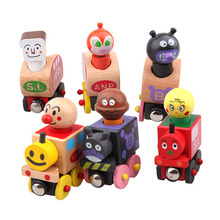 6Pcs/set Baby Toy Anpanman Magentic Train Child Educational Wooden Toy Baby Car Birthday Gift Vehicle Toy Early Learning Toy(China (Mainland))