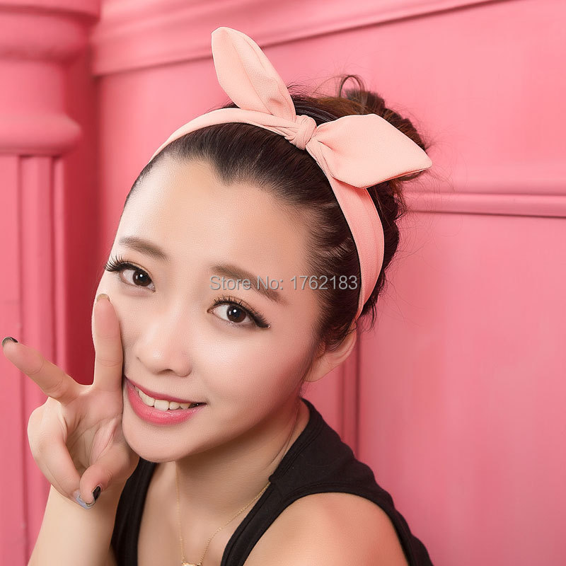 Gum For Hair Accessories 2015 Character Adult Hairbands New Sweet Cute Bunny Ears Headband A Variety Of Colors Hot Headwear(China (Mainland))