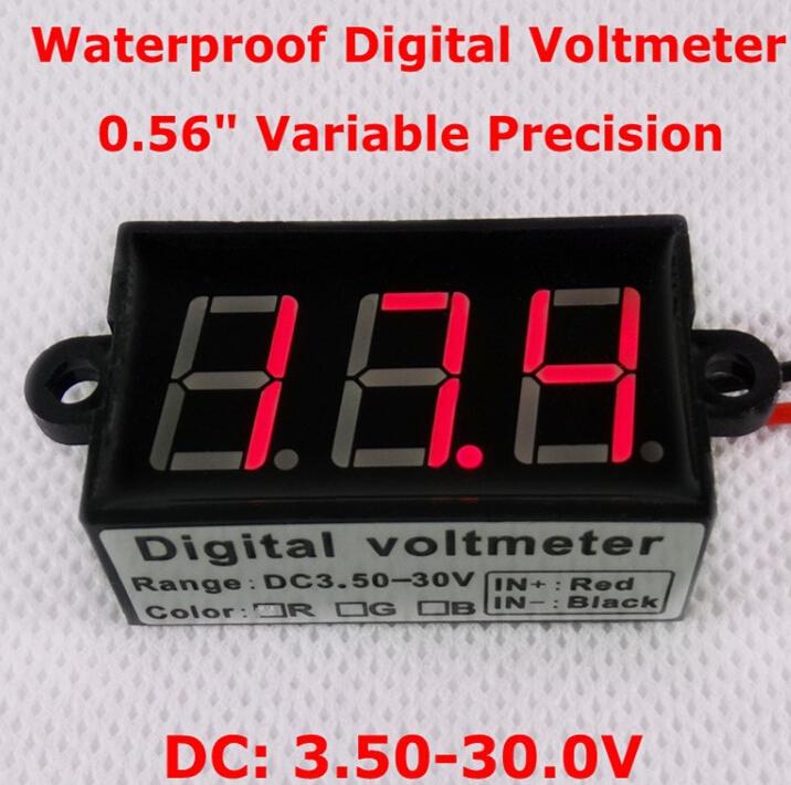 """BY DHL/FEDEX 0.56"""" DC3.50-30.0v Car Motor Red LED waterproof Digital Voltmeter Volt Voltage Panel Meter(China (Mainland))"""