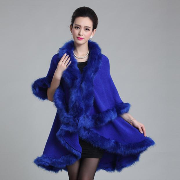 2015 New Fashion Long Wool Cashmere Faux Fox Fur Coat Cardigan Women Poncho  Knitted Sweater Women Scarves(China (Mainland))