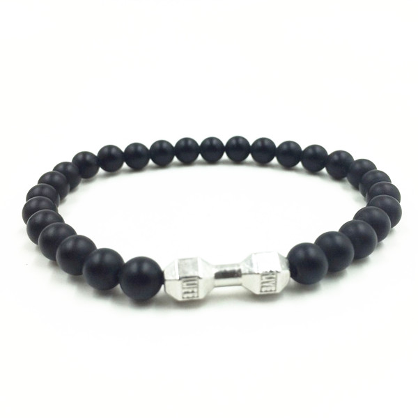 New Arrival Mens Barbell Jewelry Retail 6mm Lava Rock Stone Beads Energy Fitness Fashion Small Size Dumbell Bracelets(China (Mainland))