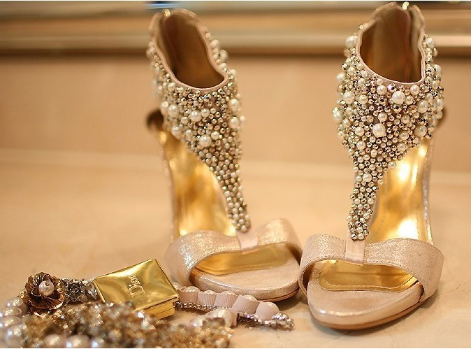Gold Wedding Shoes Star Champagne Color Bride Wedding Shoes Rhinestone Pearl Stiletto Platform