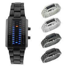Novedad Unisex hombre mujer niño niña acero inoxidable resistente al agua binario modo LED azul reloj de pulsera