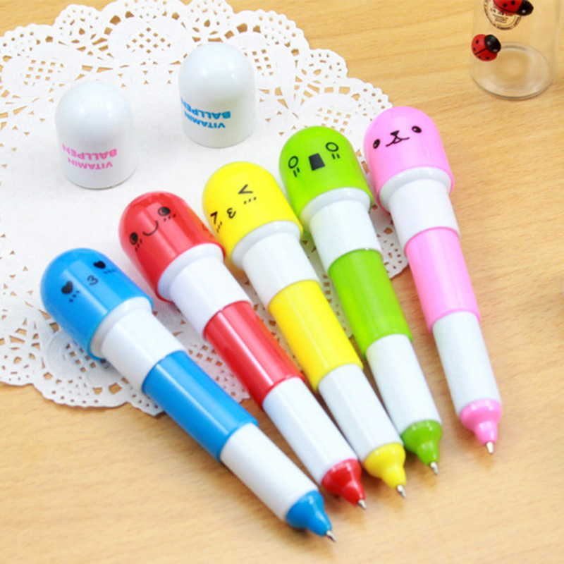 New Office supplies Creative Retractable Ball pen point cartoon Telescopic face Capsule pills Pen for kids gift 6pcs/lot
