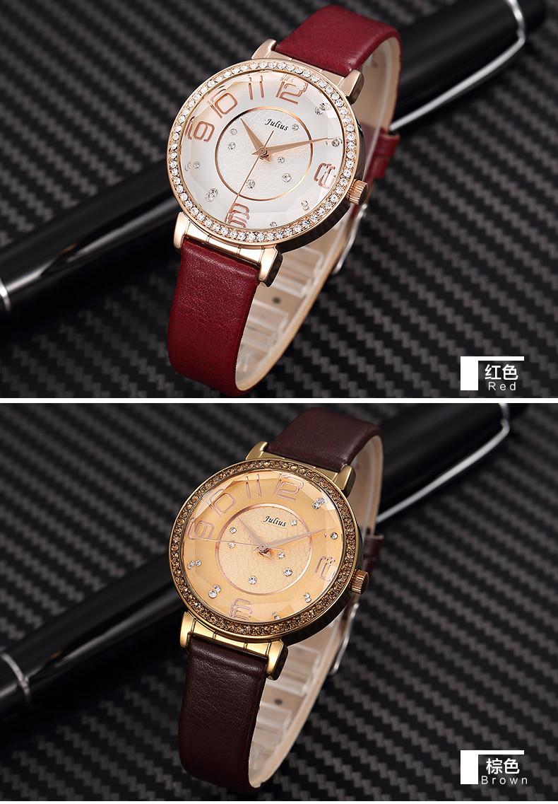 2015 новый юлиус леди женщина наручные часы кварцевых часов лучший мода платье корея браслет группа кожа горный хрусталь девушке подарок JA-807