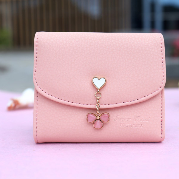 New Fashion Women Wallet Solid Love Heart Short Lady Clutch Three Leaf Clover Fresh Hasp Change Purse Popular Girl Card Holders(China (Mainland))