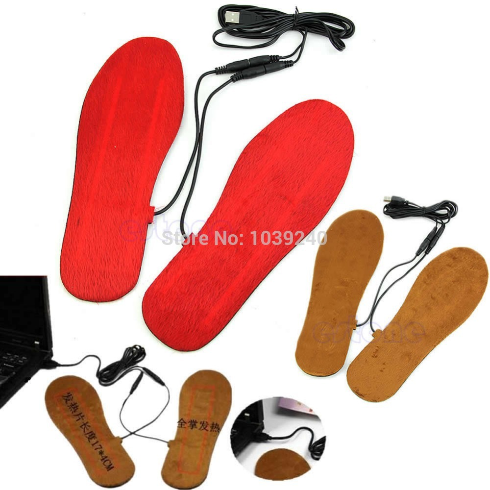New Hot USB Electric Powered Heated Insoles For Shoes Boots Keep Feet Warm(China (Mainland))