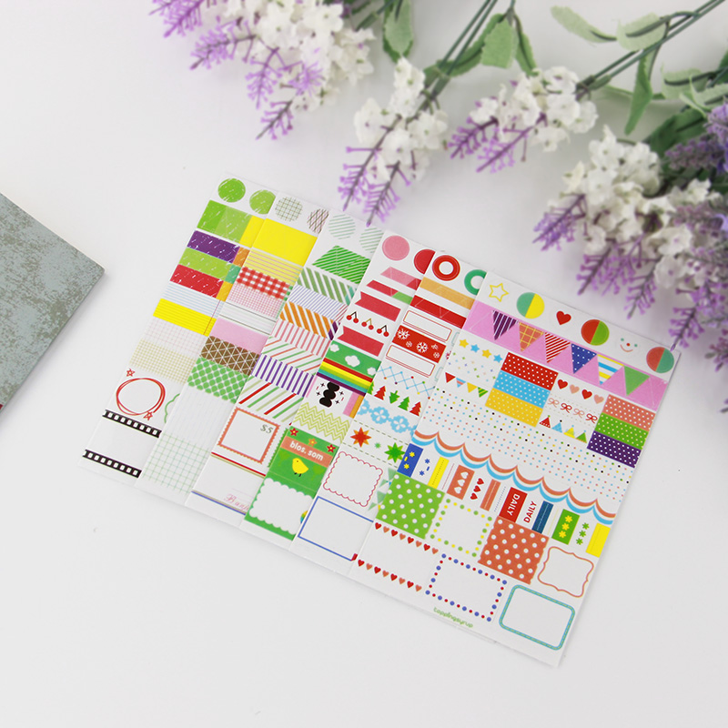 6 pcs Korea Creative Office Stationery Paper Sticker DIY Rainbow Colored Transparent stickers Label Directory Decoration Decal(China (Mainland))