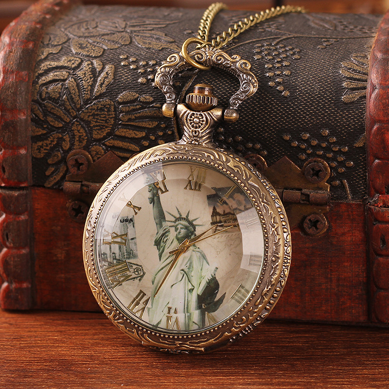 2016 Round Watches Relojes Watch Women In The New European Jewelry Collection Statue Of Liberty Retro Necklace Large Wholesale(China (Mainland))