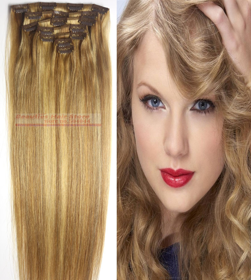 18 20 22 24 26 28  7pcs set 100% soft indian remy hair clips in/on human hair extensions #12/613 70g 80g 100g 120g 140g<br><br>Aliexpress