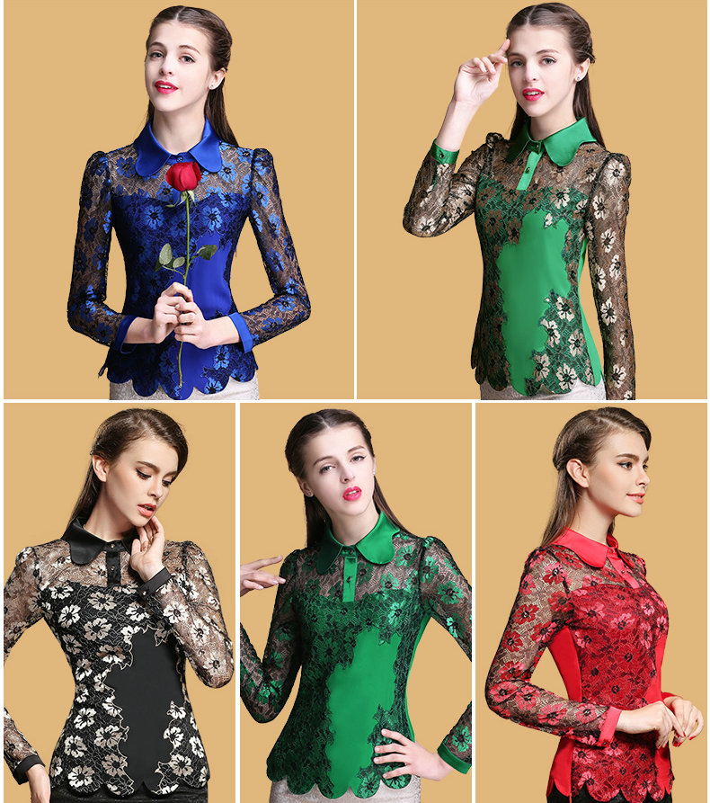 2015 autumn new arrival women fashion brand designer long sleeve shirts lace embroidery blouses large size womens tops blue XXLОдежда и ак�е��уары<br><br><br>Aliexpress