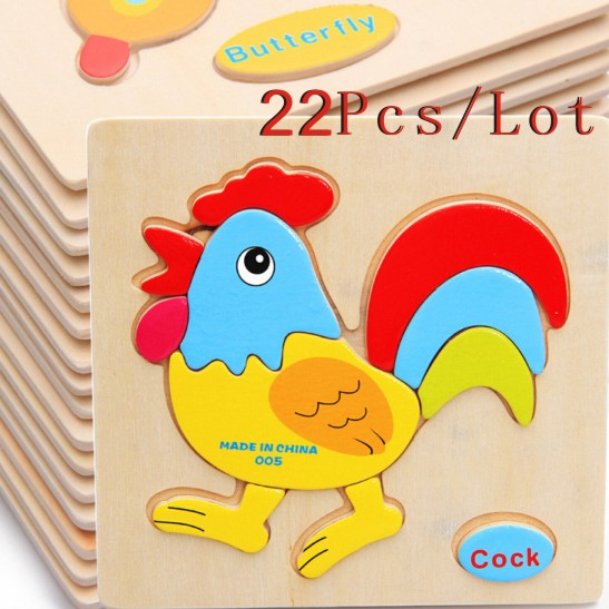 Wholesale 22Pcs/Lot Animal/Vehicle/Fruit 3D Puzzles Wooden Toys Educational Early Learning Puzzles Child Gift(China (Mainland))