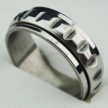 Cool 2015 New Arrival Silver 316L Stainless Steel Spinner Mens Band Ring Mens Jewelry C093(China (Mainland))