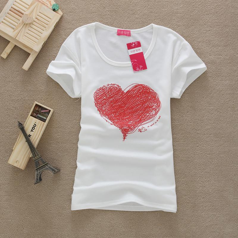 2015 Fashion Good Quality Women's Short Sleeve Red Heart Girls T-Shirt Ladies' t-shirts Vest Hot Selling D25 - Lanmo store
