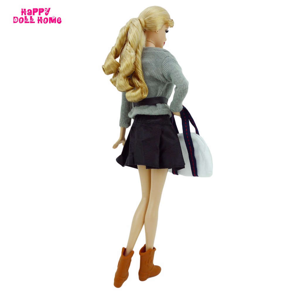 Style Preppy Model Outfit Jacket Coat Vest Belt Skirt Boots Purse Dollhouse Equipment For Barbie Doll Garments FR Doll Put on