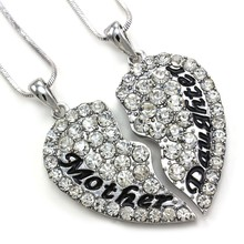 Mother and Daughter Best Friend Pendant Necklace Charm Mother's Day Heart  Rhinestone Jewelry + Gift Box + Free Shipping(China (Mainland))