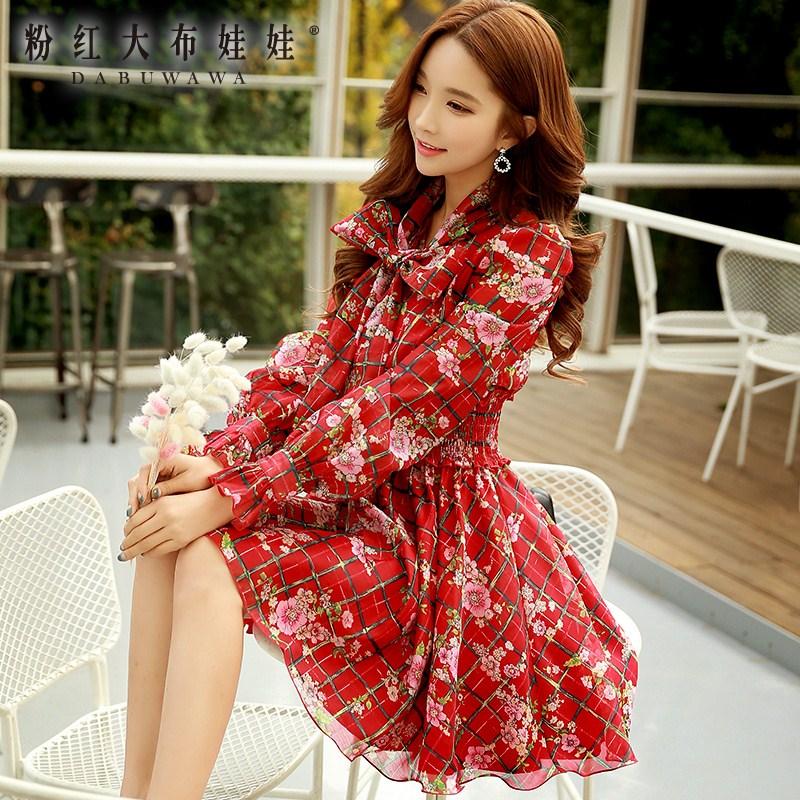 Print Dress Pink Doll 2016 new spring bow waist long sleeved dress