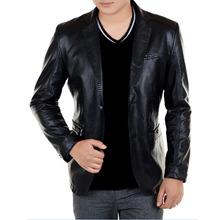 Spring Autumn Slim Leather Jacket Men High Quality Fashion Single Breasted Leather Coat Jaqueta Masculina Plus Size M- 4XL(China (Mainland))
