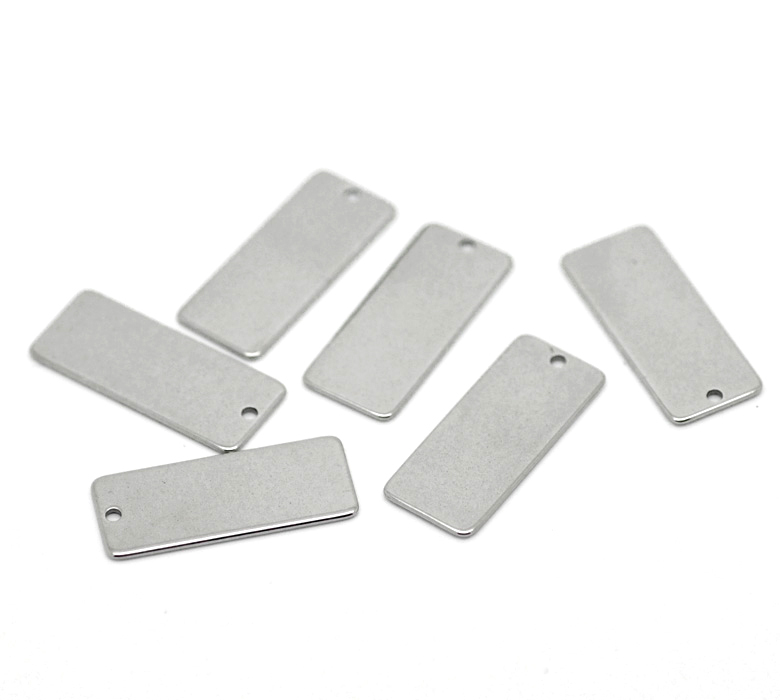 Free Shipping 100Pcs Silver Tone Rectangle Blank Stamping Tags Stainless Steel Pendants Jewelry Charms 21x9mm(China (Mainland))