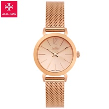 New Top brand Julius watch women luxury dress full steel watches fashion casual Ladies quartz watch Rose gold Female table clock(China (Mainland))