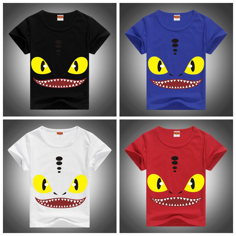 Hot!Popular!How To Train Your Dragon 2 For Children Baby Boys&Girls Cotton T-Shirt Toothless Short Sleeve Street T-shirt 2-12Y(China (Mainland))