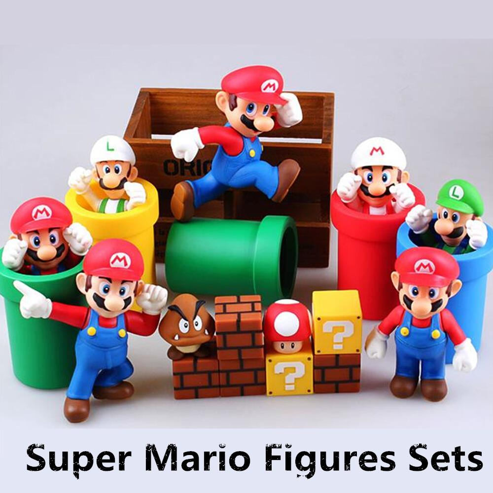 7pcs/set Super Mario Bros Pipeline mushrooms Collection Action Figures PVC Models collection toys gifts for children with Box #D