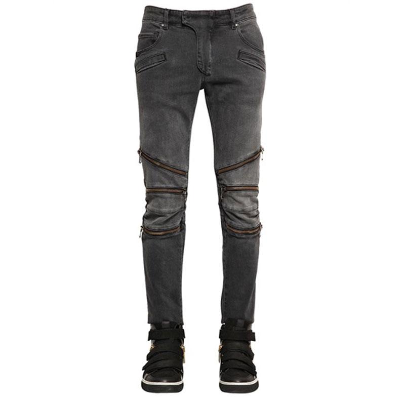 Men Slim Punk Jeans New Locomotive Pants Retro Grey Fake Zipper Design Fashion Skinny Jeans Trousers Denim Pencil Pants 29-38Одежда и ак�е��уары<br><br><br>Aliexpress